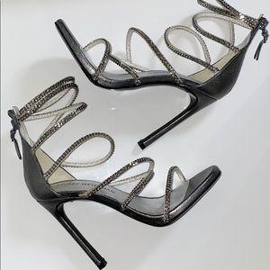 Auth Stuart Weitzman iron washed Napa chain heels